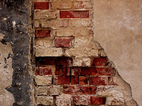 exposed brick foundation
